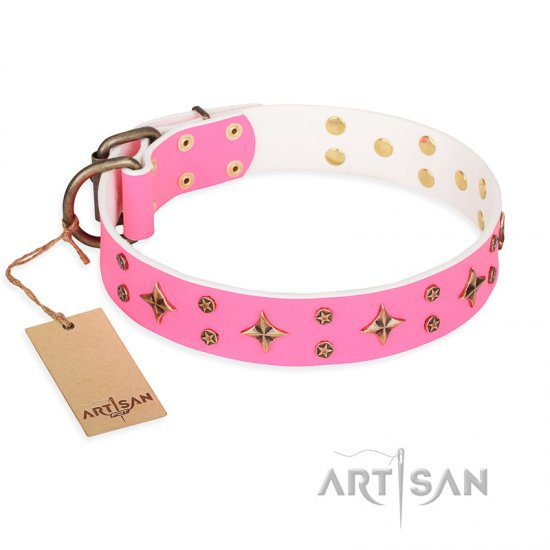 'Chi-Chi Pink Rose' FDT Artisan Leather Dogue de Bordeaux Collar with Decorations