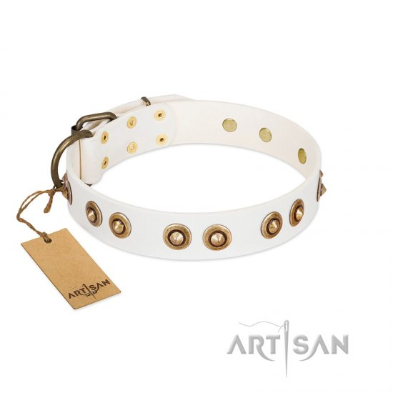 """Moonlit Stroll"" FDT Artisan White Leather Dogue de Bordeaux Collar with Antique Decorations"