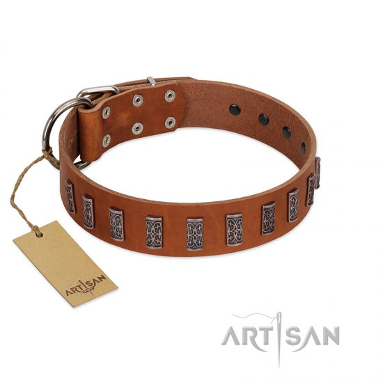 """Silver Century"" Fashionable FDT Artisan Tan Leather Dogue de Bordeaux Collar with Silver-Like Plates"