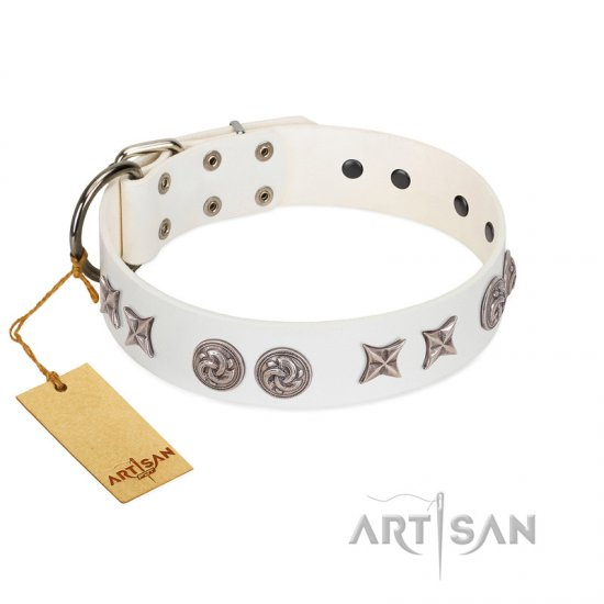 """Galaxy Hunter"" FDT Artisan White Leather Dogue de Bordeaux Collar with Engraved Brooches and Stars"