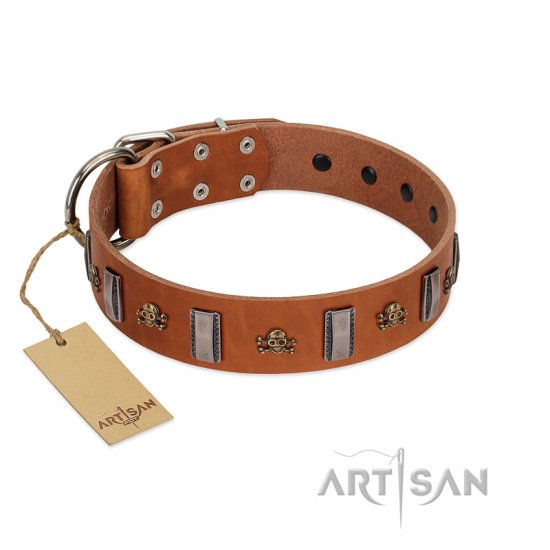"""Golden Crossbones"" Handmade FDT Artisan Tan Leather Dogue de Bordeaux Collar with Plates and Skulls"