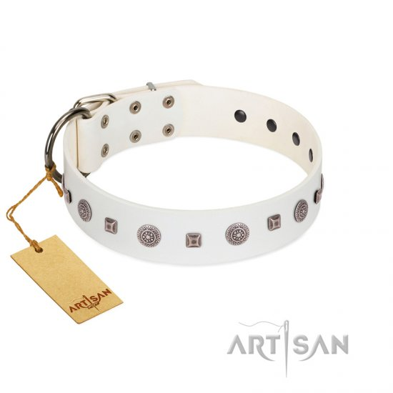 """Drops on Snow"" Handmade FDT Artisan White Leather Dogue de Bordeaux Collar Adorned with Silver-Like Studs"