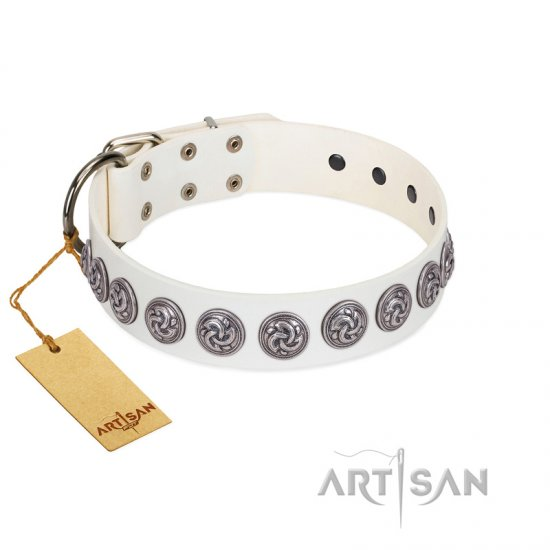 """Bohemian Spirit"" Handmade FDT Artisan White Leather Dogue de Bordeaux Collar with Vintage Decorations"
