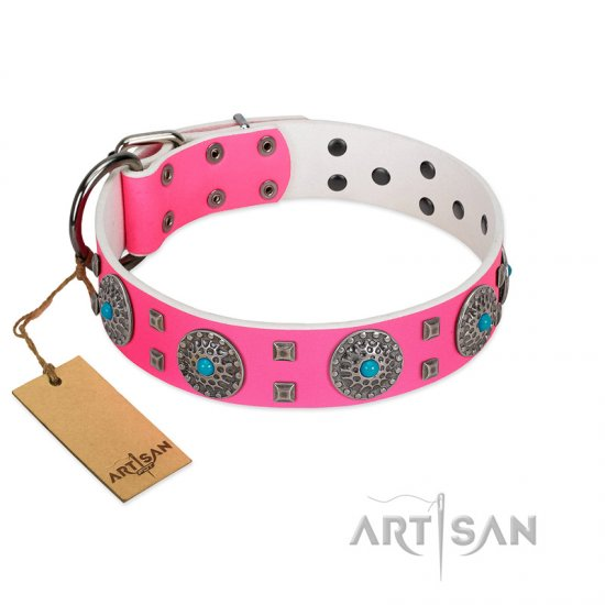 """Pink Delight"" FDT Artisan Pink Leather Dogue de Bordeaux Collar for Everyday Walking"