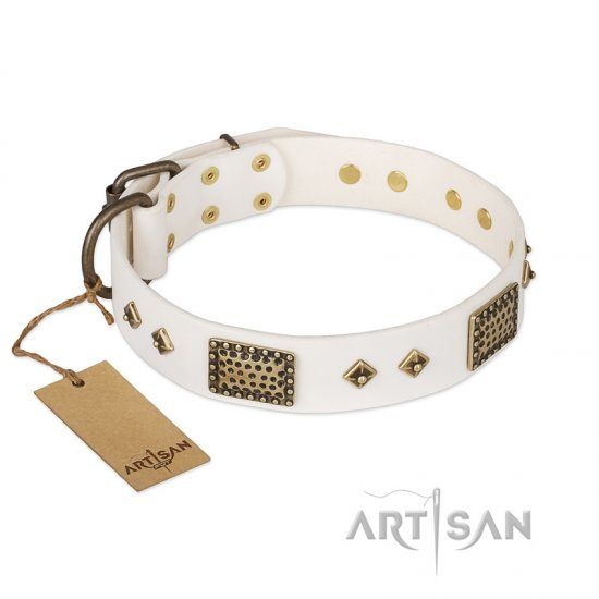 """Snow-covered Gold"" FDT Artisan White Leather Dogue de Bordeaux Collar"