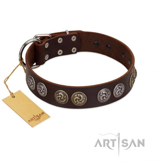"""Treasure Hunter"" FDT Artisan Brown Leather Dogue de Bordeaux Collar with Old-Bronze-like and Silvery Medallions"