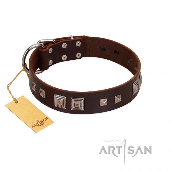 """Object of Virtu"" FDT Artisan Brown Leather Dogue de Bordeaux Collar with Old Silver-like Square Studs and Pyramids"