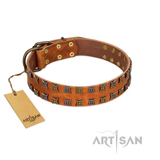 """Terra-cotta"" FDT Artisan Tan Leather Dogue de Bordeaux Collar with Two Rows of Studs"