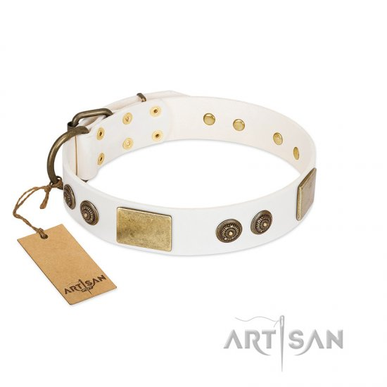 """Sweet Melody"" FDT Artisan White Leather Dogue de Bordeaux Collar with Plates and Ornamented Studs"
