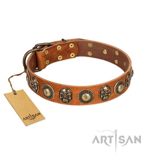 """Golden Epoch"" FDT Artisan Tan Leather Dogue de Bordeaux Collar with Old Bronze-plated Medallions and Conchos"
