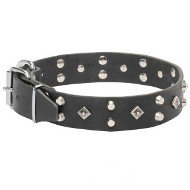 'Pyramid of Cheops' Leather Dogue de Bordeaux Collar