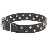 """Galaxy Pyramids"" Leather Dogue de Bordeaux Collar"