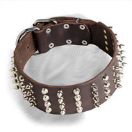 Extra Wide Leather Studded and Spiked Dogue de Bordeaux Collar