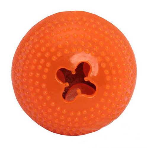 Dogue de Bordeaux rubber ball for treat dispensing