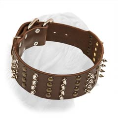 Extra Wide Spiked Studded Leather Collar for Dogue de Bordeaux