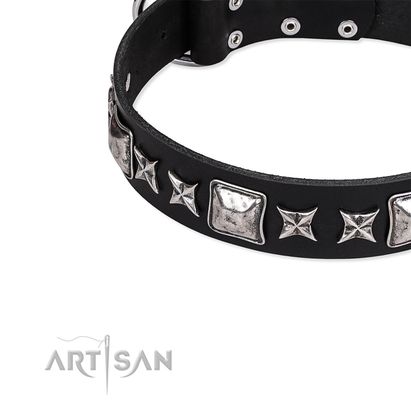 Genuine leather dog collar with decorations for daily walking