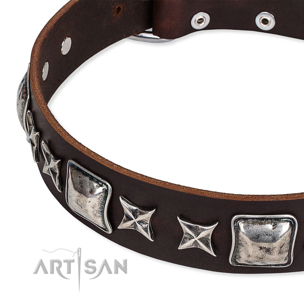 Leather dog collar with decorations for comfy wearing