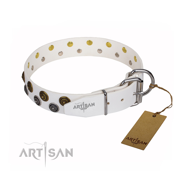 Daily use full grain genuine leather collar with decorations for your pet