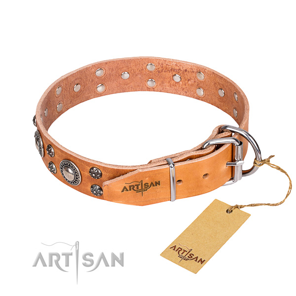 Daily use full grain genuine leather collar with decorations for your canine