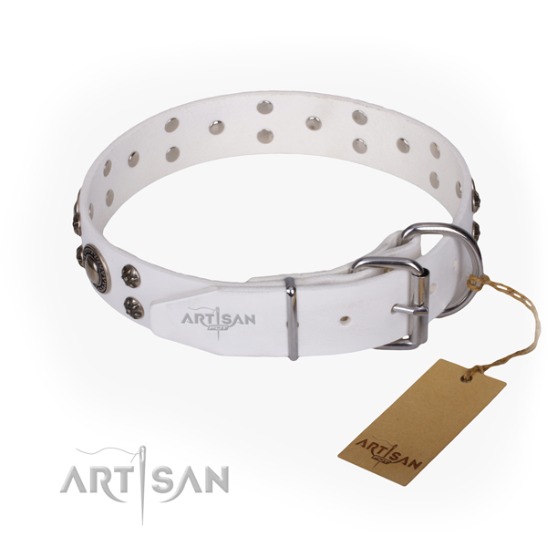 Stylish walking natural genuine leather collar with decorations for your four-legged friend