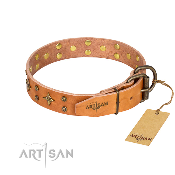 Handy use genuine leather collar with adornments for your canine