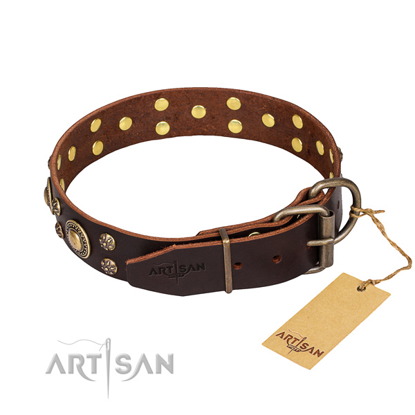 Handy use full grain leather collar with adornments for your canine