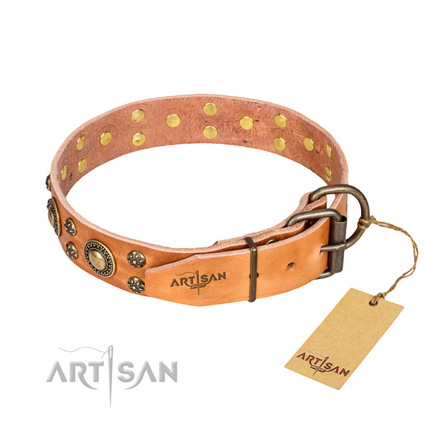 Stylish walking natural genuine leather collar with adornments for your doggie