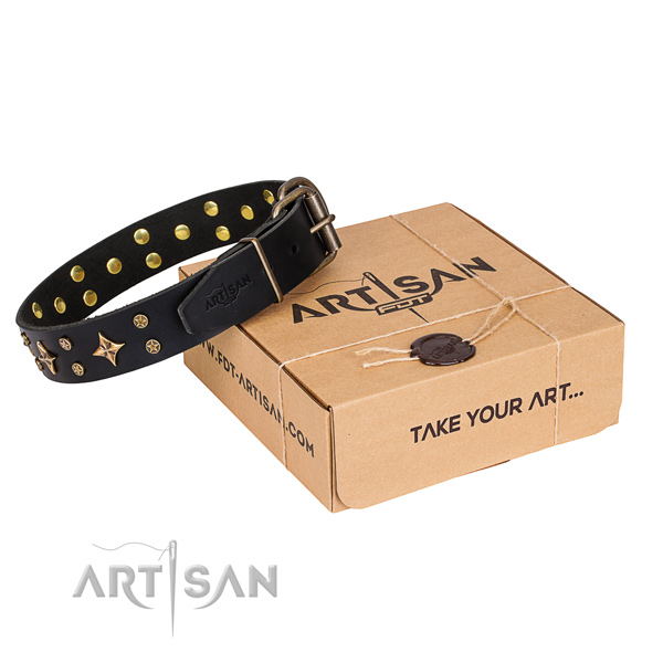 Adorned leather dog collar for comfy wearing