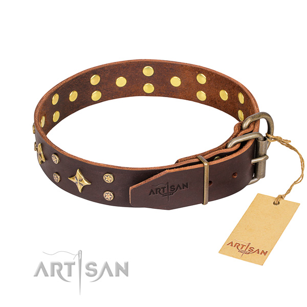 Daily use full grain genuine leather collar with decorations for your doggie
