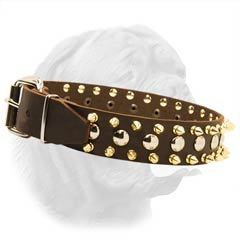 Wide Leather Neck-Protective Collar for French Mastiff with Spikes and Studs