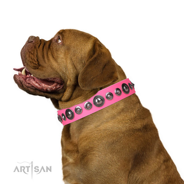 Fashionable embellished leather dog collar for easy wearing