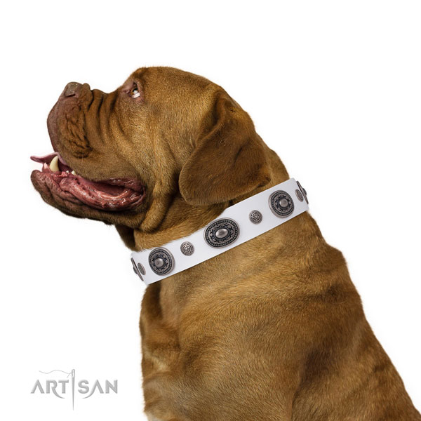 Leather dog collar with corrosion proof buckle and D-ring for comfy wearing
