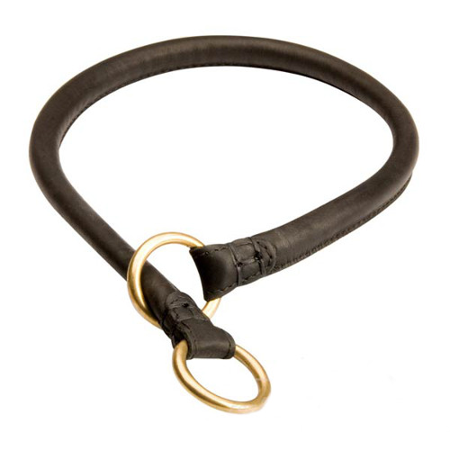 Strong genuine leather choke collar