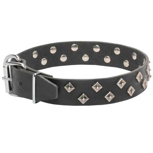 Wide genuine leather dog collar