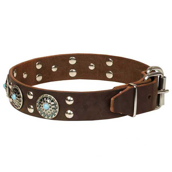 Genuine leather brown dog collar for walking