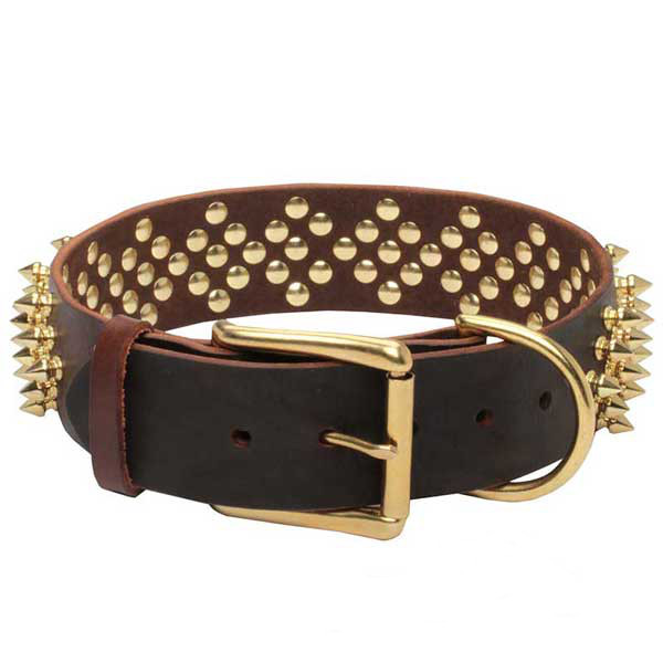 Superior genuine leather dog collar with shiny spikes