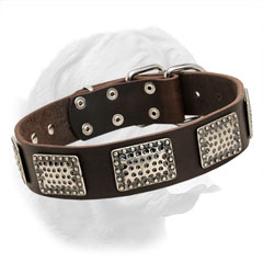 Full grain leather stylish collar