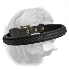 Training Dog Collar made of Two Ply Leather with Fur Protecting Buckle