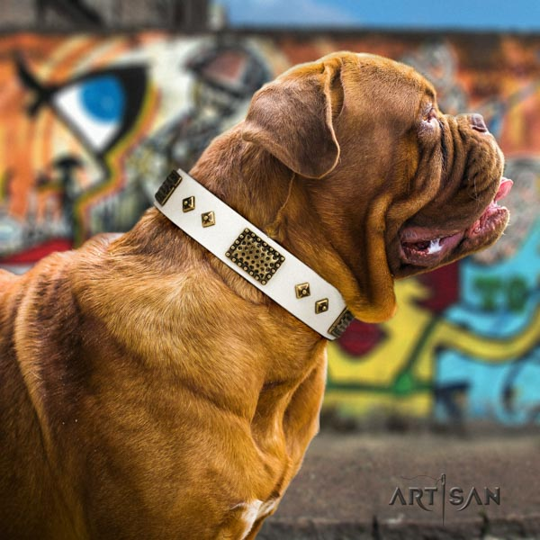 Dogue de Bordeaux significant full grain genuine leather collar for handy use