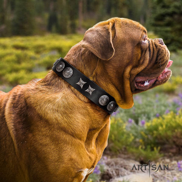 Dogue de Bordeaux easy adjustable natural genuine leather dog collar