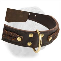 1 1/2 Inch Wide French Mastiff Collar Made of Two Ply Leather with Braiding