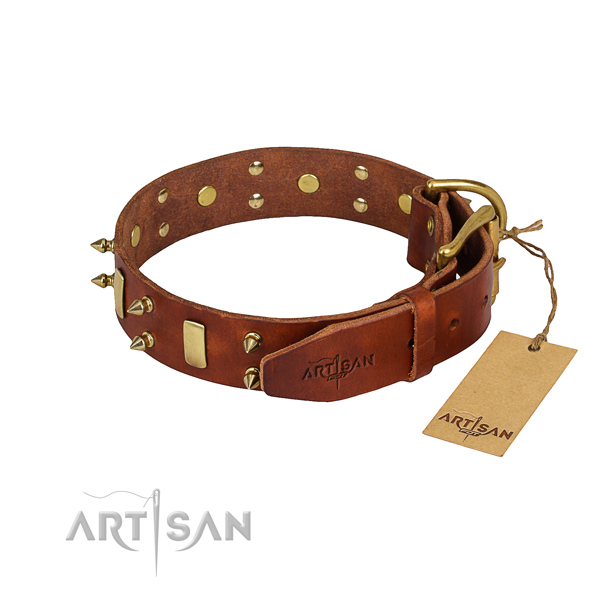 Full grain natural leather dog collar with worked out leather surface