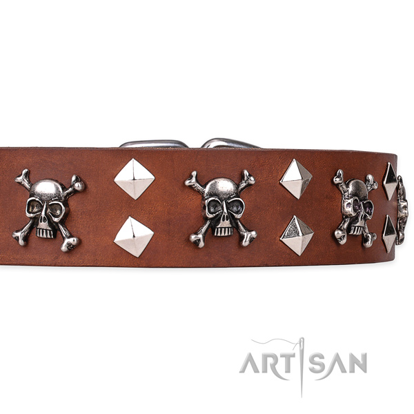 Heavy-duty leather dog collar with non-corrosive elements