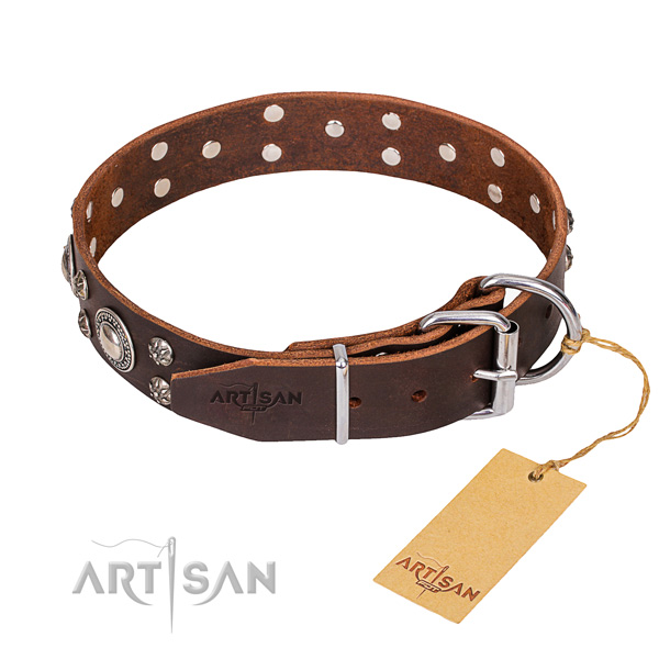 Functional leather collar for your beloved canine