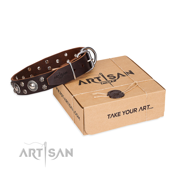 Casual style leather dog collar with cute adornments