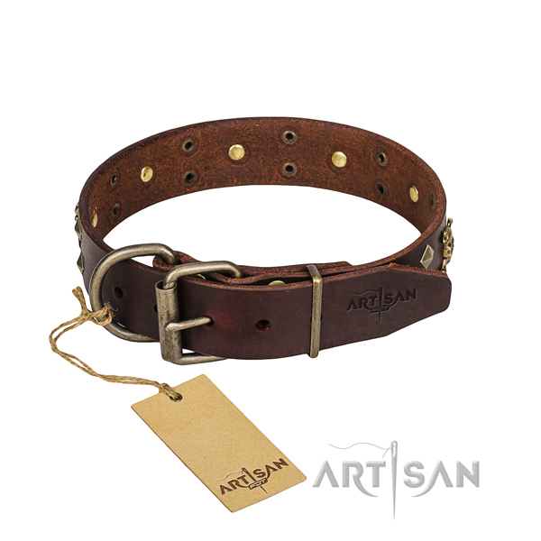 Indestructible leather dog collar with reliable hardware