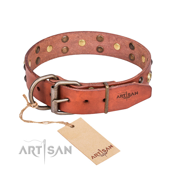 Leather dog collar with polished edges for comfy everyday outing