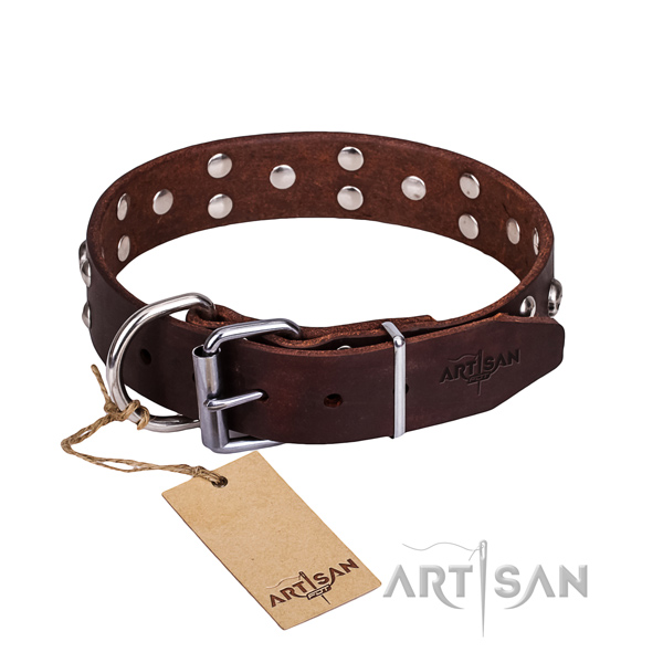 Leather dog collar with thoroughly polished edges for convenient everyday wearing