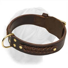 Strong and Comfortable Collar for Dogue de Bordeaux Breed Decorated with Braids