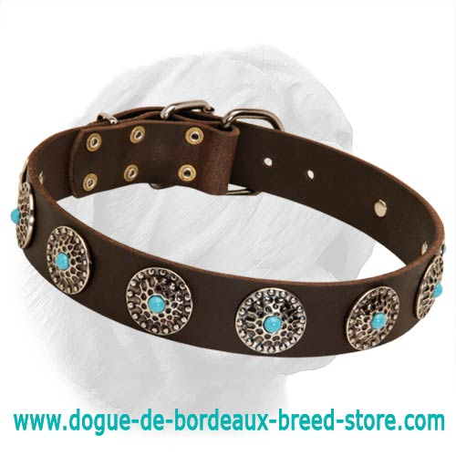 Exquisite Design Wide Leather Collar With Turquoise Color